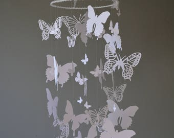 Butterfly nursery mobile / baby mobile made with white butterflies -- Butterfly babyshower, nursery art, nursery decor