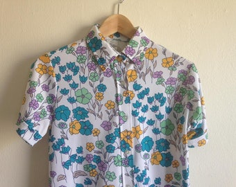 Vintage Polyester Floral Button Up