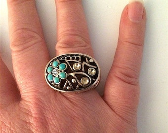 Barse Signed Turquoise Topaz and Sterling Ring Sz 7