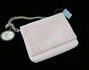 Vintage NOS La Regale Pink Handbag Purse Plastic Bead Satin Interior Double Silvertone Chain Strap Formal Eveningbag Unused w/ Original Tags