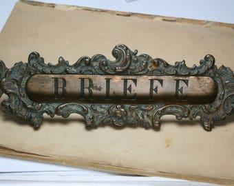 Vintage French Provincial Style Cast Bronze Letter Slot - Home Improvement