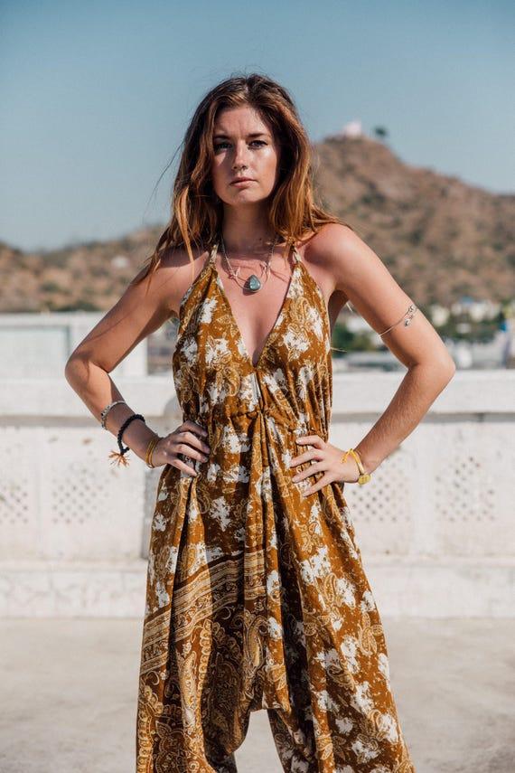 GOA JUMPSUIT - Limited Edition Silk Jumpsuit- Handmade- Vintage Sari Jumpsuit- Festival- Hippie- Retro- Halterneck- 100% Silk- Couture