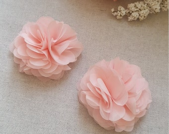 Hair accessory, Pink floral hair clip, coral chiffon flower clips x2 - Bridesmaid accessories