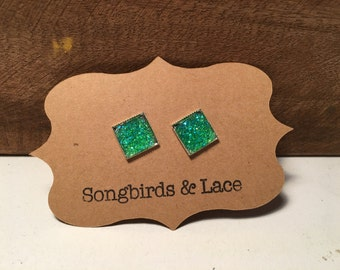 Green Druzy Square Earrings- silver stud (12mmx12mm)