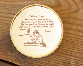 Small Plate Children's Bedtime Prayer Decorative China Plate Display Baby Nursery Decor Collectible