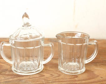 Vintage Hazel Atlas 12-Paneled Cream and Sugar Set Clear Glass