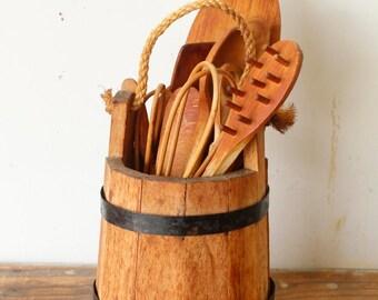 Rustic Vintage Whiskey Barrel Wood Bucket Utensil Holder with 12 Wooden Utensils Kitchen Storage Display
