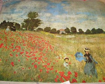 Monet Poster Lithograph Corn Poppies Vintage