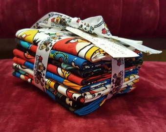 Fat Quarter Bundle, Angry Birds, Angry Bird Fabric, 8 Fat Quarters
