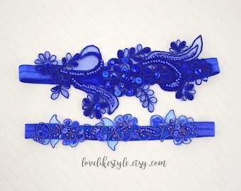 Wedding Garter Set Royal Blue Beaded Lace Wedding Garter Set, Blue Lace Garter Set,Blue  Toss Garter , Wedding Garter Belt / GT-65