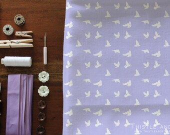 Peace Dove Fabric Bird Purple Periwinkle Fabric by the yard, Choose Cotton Knit, Linen Canvas, Cotton | Ships from USA, Free Ship Worldwide