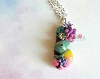 Chameleon necklace with succulents