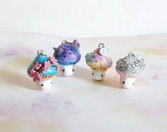 Kawaii mushroom necklace. Sakura, Kawaii, Holographic and Crystal
