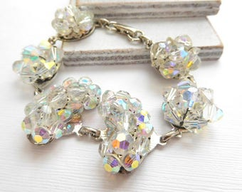 Repurposed Vintage Glam Genuine Crystal Bead Cluster Earring Charm Bracelet N34