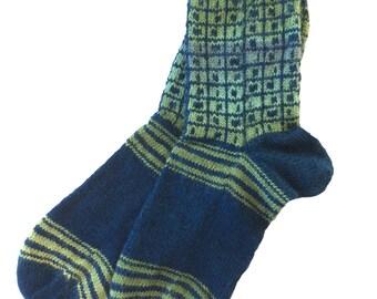 Socks, Hand Knit Unique Socks, Striped Socks, Hand Knit Boho Socks, Men Women Socks, Bohemian Socks, Blue Green Sox, Hipster Socks, Unique