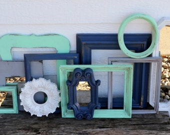 Set of 11 Upcycled Frames and Mirrors - Navy Blue, White, Mint, and Grey - Wall Gallery - Nursery - Wedding - Vintage Frames - Frame Set
