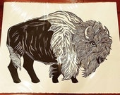 Large bison woodcut print