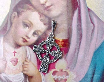 Beautiful Sterling Silver Cross Pendant Set with Sparking Marcasites