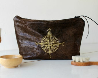 Toiletry bag, dark brown faux leather, embroidered golden compass.Vegan shaving bag,cosmetic clutch. Husband gift. Groomsmen gift. Dad gift.