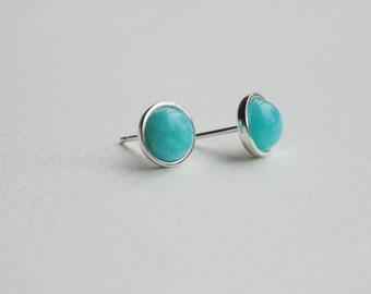 Blue green amazonite gemstone sterling silver studs earrings