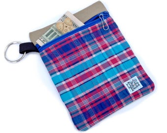 Blue Raspberry Plaid Clip-on Dog Leash Accessory Pouch - Dog Treat Bag - Dog Poop Bag Holder