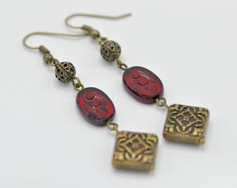 Dangle Earrings, Antique Bronze, Czech Glass Beads, For her