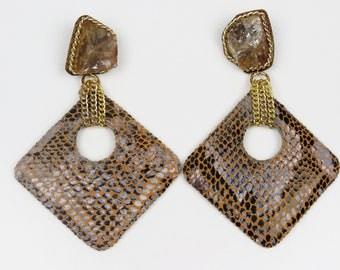 Animal Print Earrings, Leather Earrings, Snakeskin Earrings, Big Earrings, Big Dangle Earrings, Large Earrings, Large Dangle Earrings