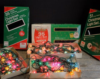 3 Vintage Christmas Light Strands In Boxes // Plastic Flowers // Extra Lights