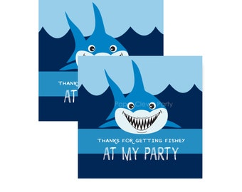 Shark Party Favor Tags, Aquarium Adventure, Kids Gift Labels, Blue Stripe, Stickers Instant Download, Boys Gift Tags, Printable (BLUESHPF)