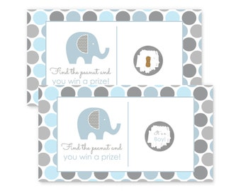 Elephant Scratch Off Game Card - Baby Shower Activity  - Grey Chevron - Blue Dots - Boys - Printed Set - Pick Winner - Party Game (BLUEELSO)