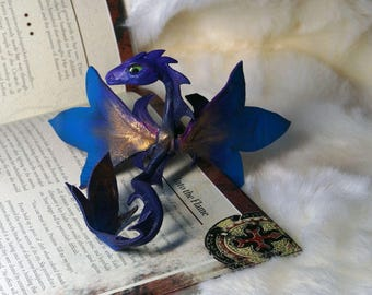 Royal Lily  Dragon  full poseable leather sculpture amulet totem magic gift