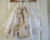 RESERVED for Angela Christmas Tree Skirt in Pretty White Cotton with Oatmeal Trim 50""