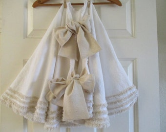 Christmas Tree Skirt in Pretty White Cotton with Oatmeal Trim - 60""