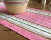 "Reserved For Pavone Sweet Pink and Green Farmhouse Table Runner 33"" by 10 1/4"""