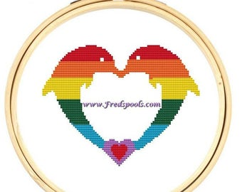 Rainbow Cross Stitch Kit, 'Dolphins in Love', Counted Cross Stitch Set, Modern Dolphins