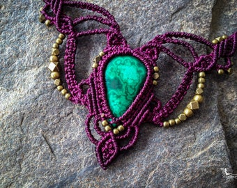 Macrame boho chic malachite necklace elven micro macramé jewelry by Creations Mariposa READY TO SHIP