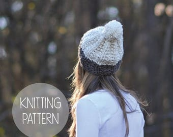 FLASH SALE knitting pattern slouchy pom hat toque pattern - the Montana beanie