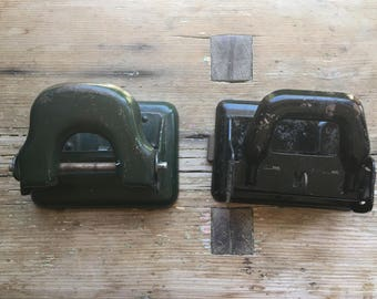 Vintage Hole Punches - Black & Green