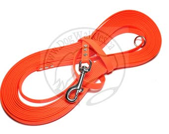 """Neon Orange - Nose Work Light Weight Long Line - 1/2"""" (12mm) wide Beta Biothane - Tacking Line Recall Leash - Choice of hardware and length"""
