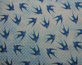 "100% Cotton Blue Bird  Fabric -44"" x 36""- Apparel Fabric--Quilting Fabric"