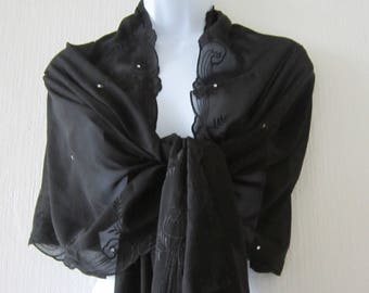 Black Sheer Wrap with Floral Design Edges