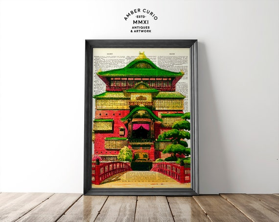 Studio Ghibli Animated Spirited Away Mythical Japanese Bathhouse Original Print on Unique Antique Upcycled Bookpage