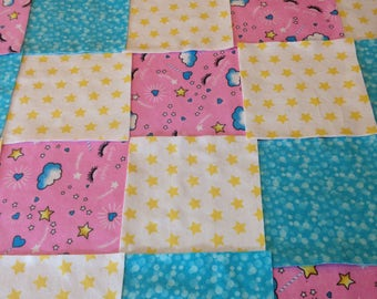 """Rag quilt kit 75 squares, 3 layers of flannel 8"""" each, top, liner and back, pink yellow and Turquoise, finished is approx 35x35"""