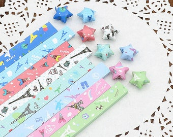 Origami Lucky Star Paper Strips Tower Mixed Designs Star Foldng DIY - Pack of 80 Strips