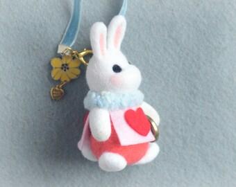 Needle felt white rabbit bag charm, handmade bunny doll handbag charm, Alice in Wonderland rabbit, needle felt animal, gift under 30