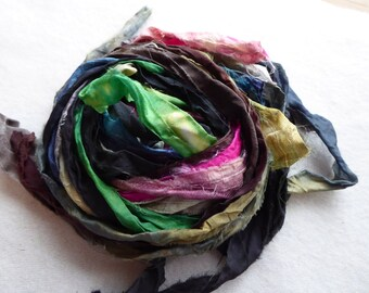 15 hand dyed silk ribbons approx 1m each mix of texture/colour - FR70
