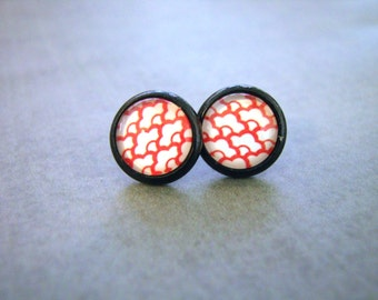 Red Glass Earrings - Chinese Floral Pattern Studs