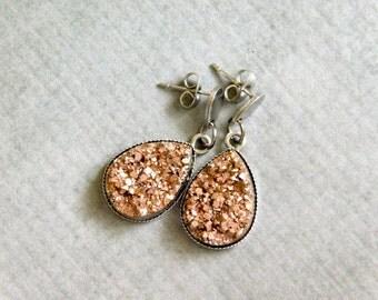 Rose Gold Druzy Earrings : Metallic Drop Jewelry