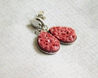 Maroon Druzy Drop Earrings : Burgundy Faux Stone Jewelry