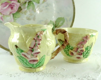 1940 s Milk Jug and Sugar Bowl by Carlton Ware of England in the Foxglove Pattern, Yellow Background, Pink Flowers, By TheSweetBasilShoppe
